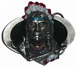 Indian Oval Belt Buckle with display stand